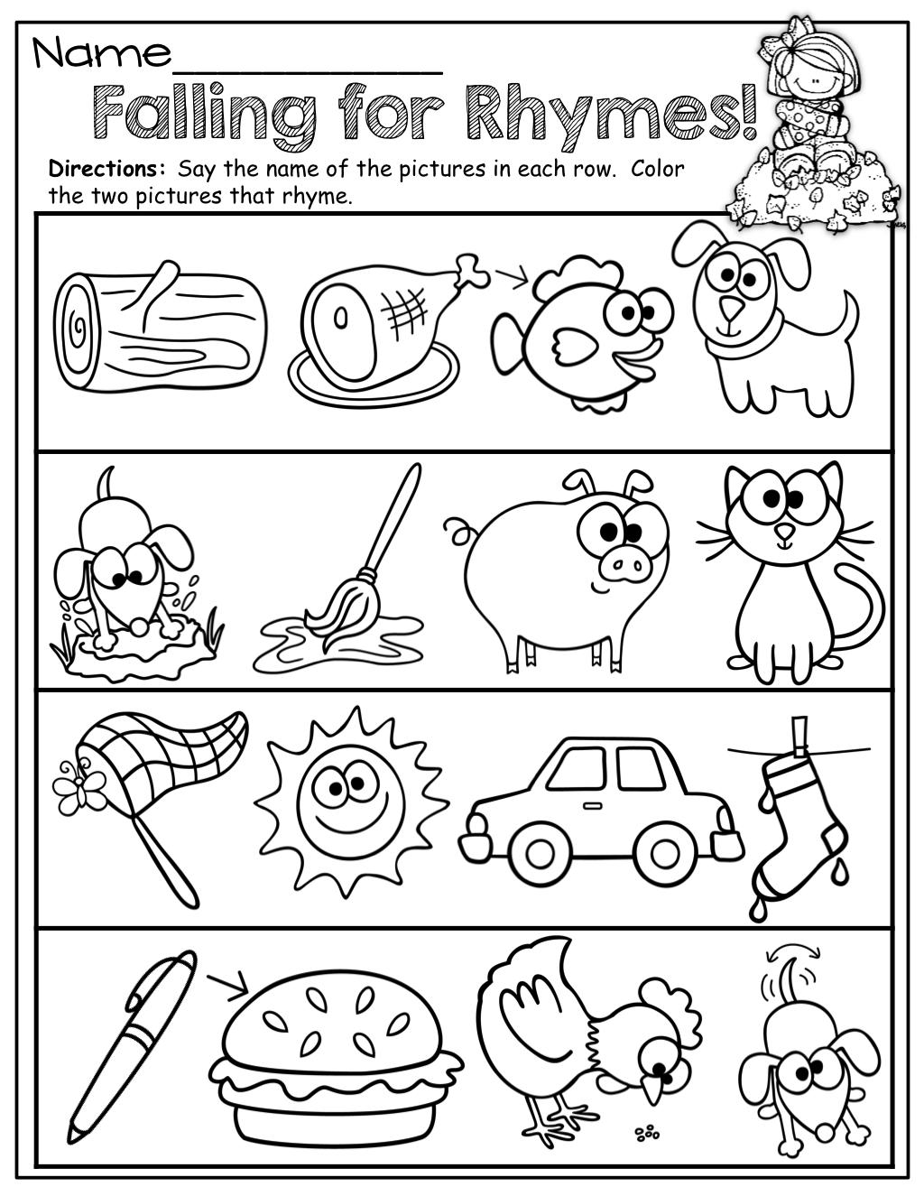 Rhyming Worksheets For Kindergarten