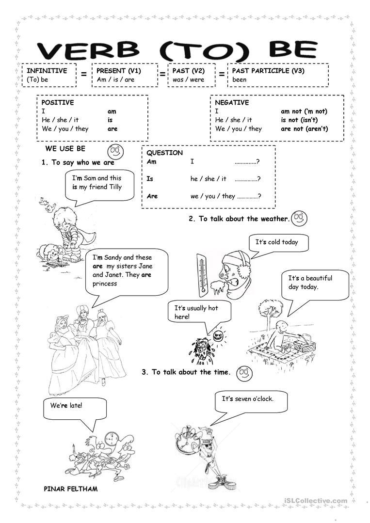 Esl Worksheets Verb To Be