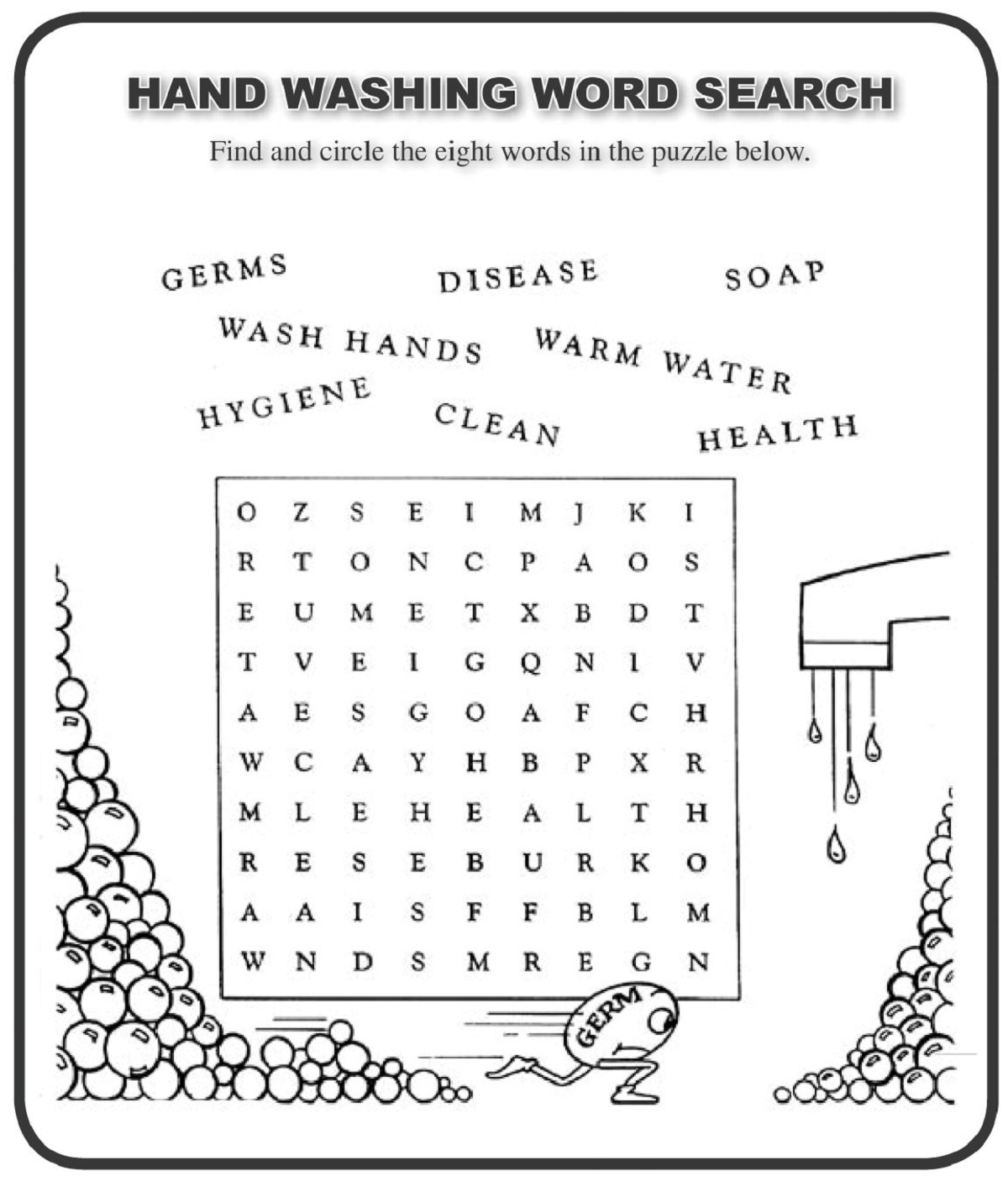 Hand Washing Worksheets