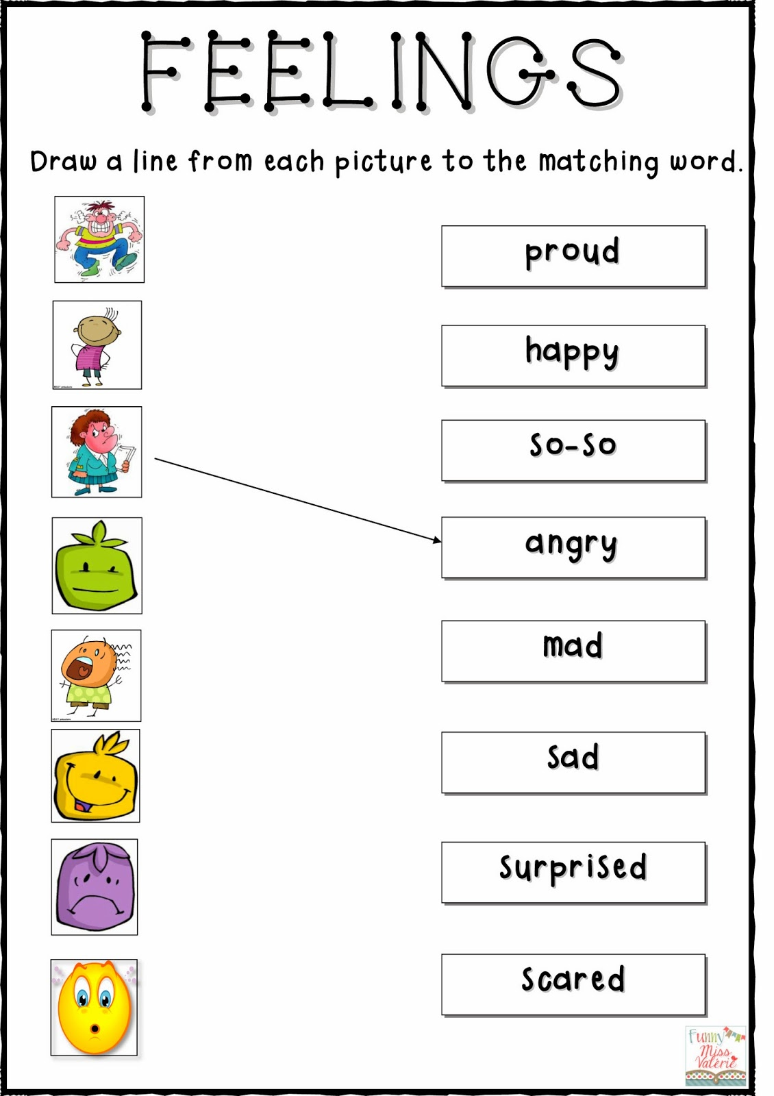 Matching Emotions Worksheets