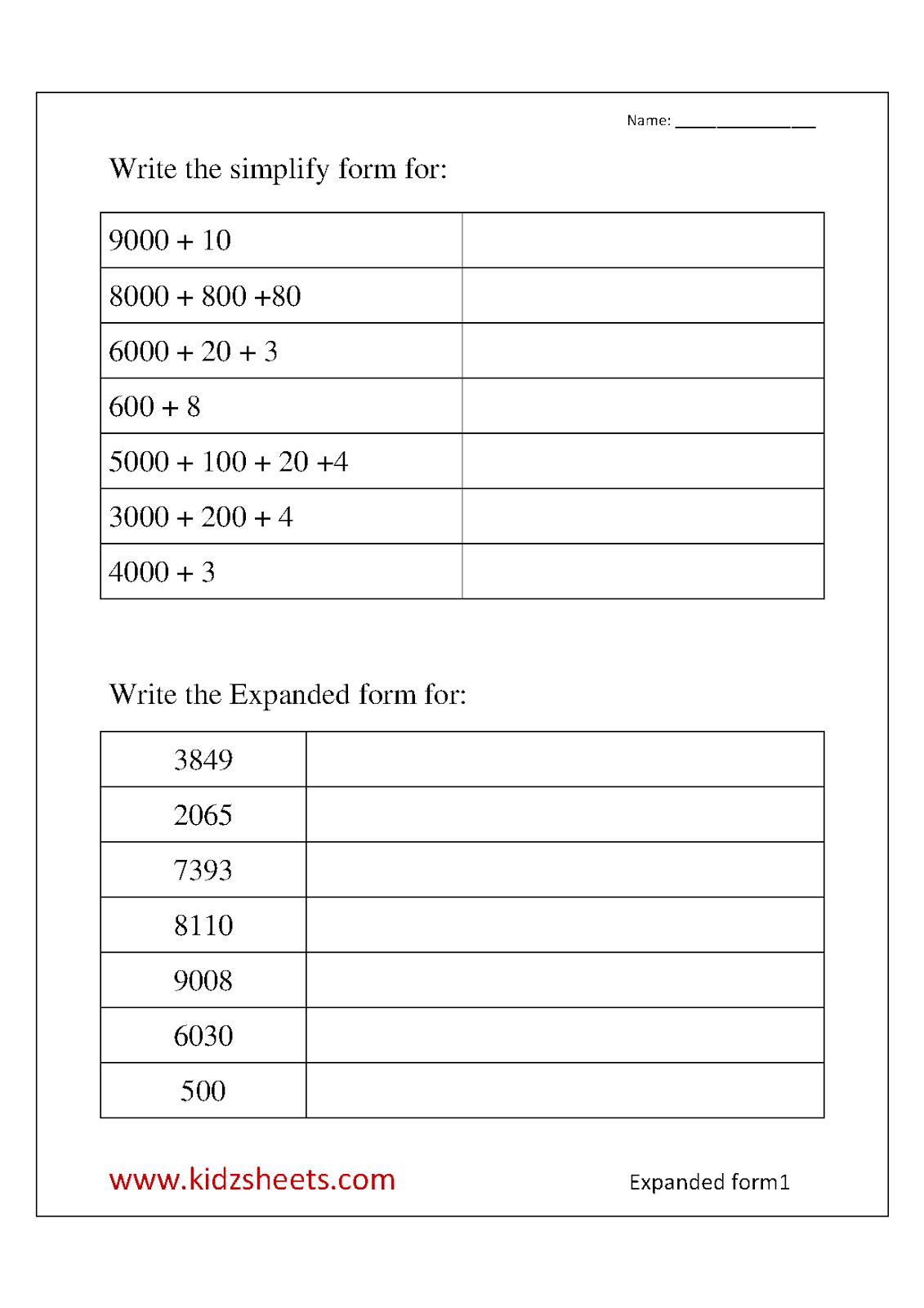 Expanded Form Worksheets For 3rd Grade