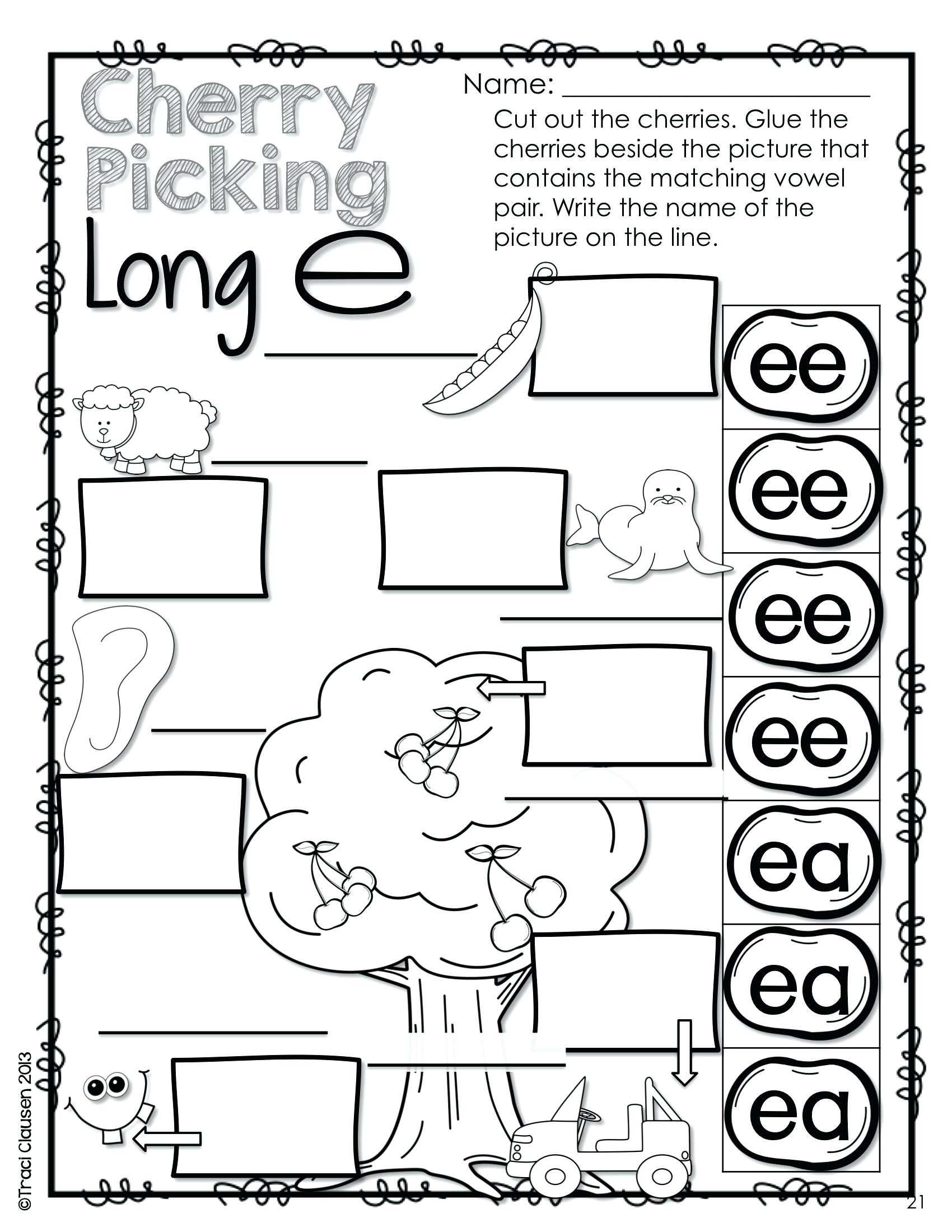 Ee Ea Worksheet For Kindergarten