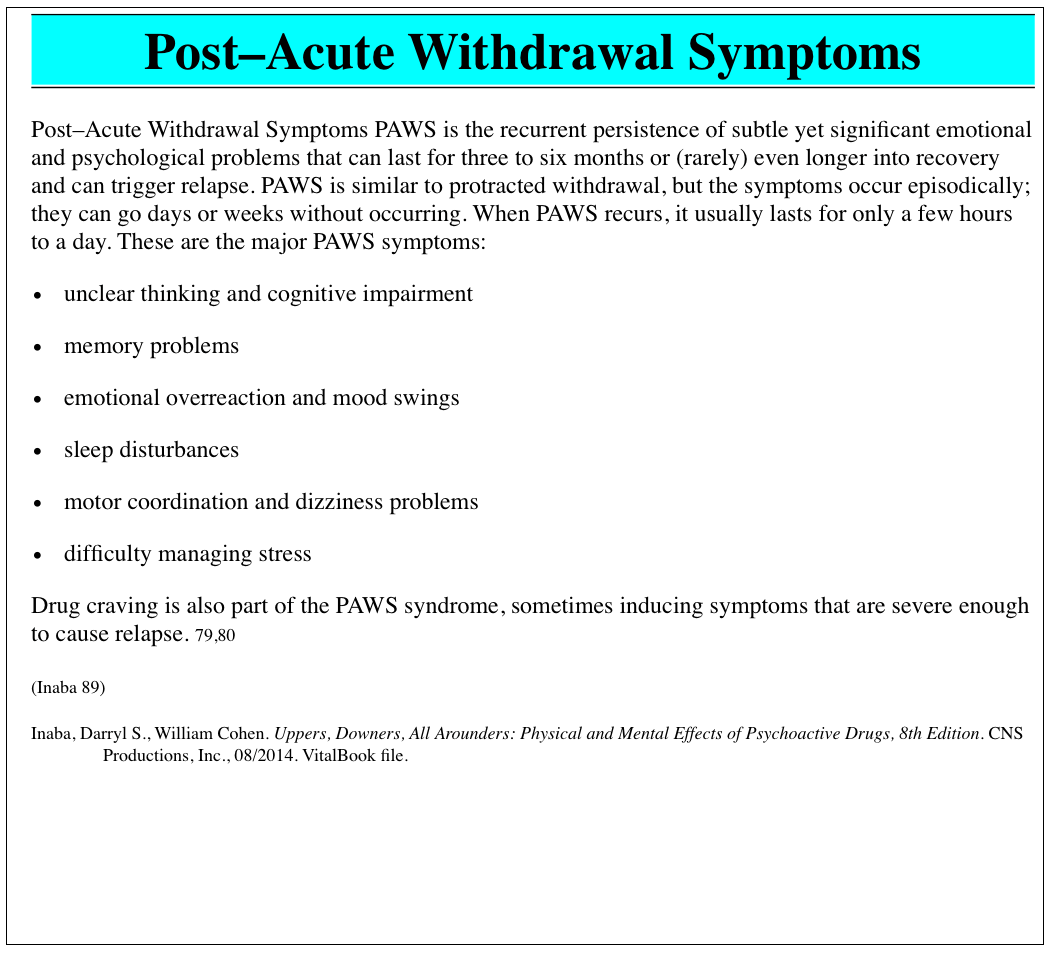Worksheet Post Acute Withdrawal Syndrome Worksheet Grass