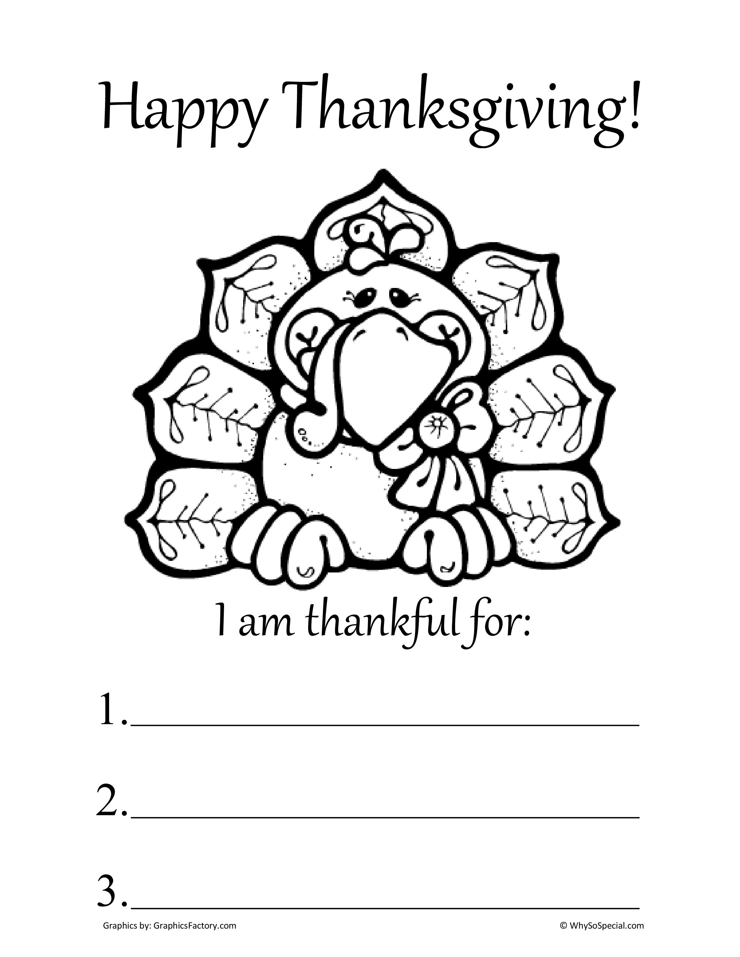Thanksgiving Thankful Worksheets