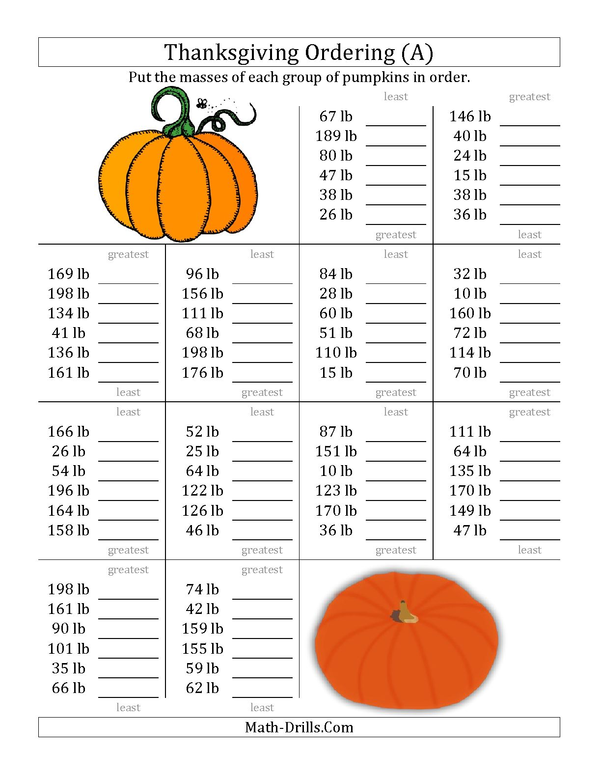 Free Thanksgiving Worksheets For Middle School