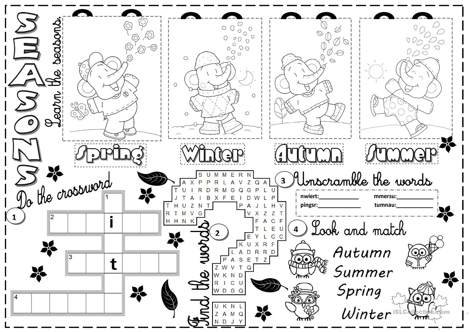 Weather And Seasons Worksheets For Kids
