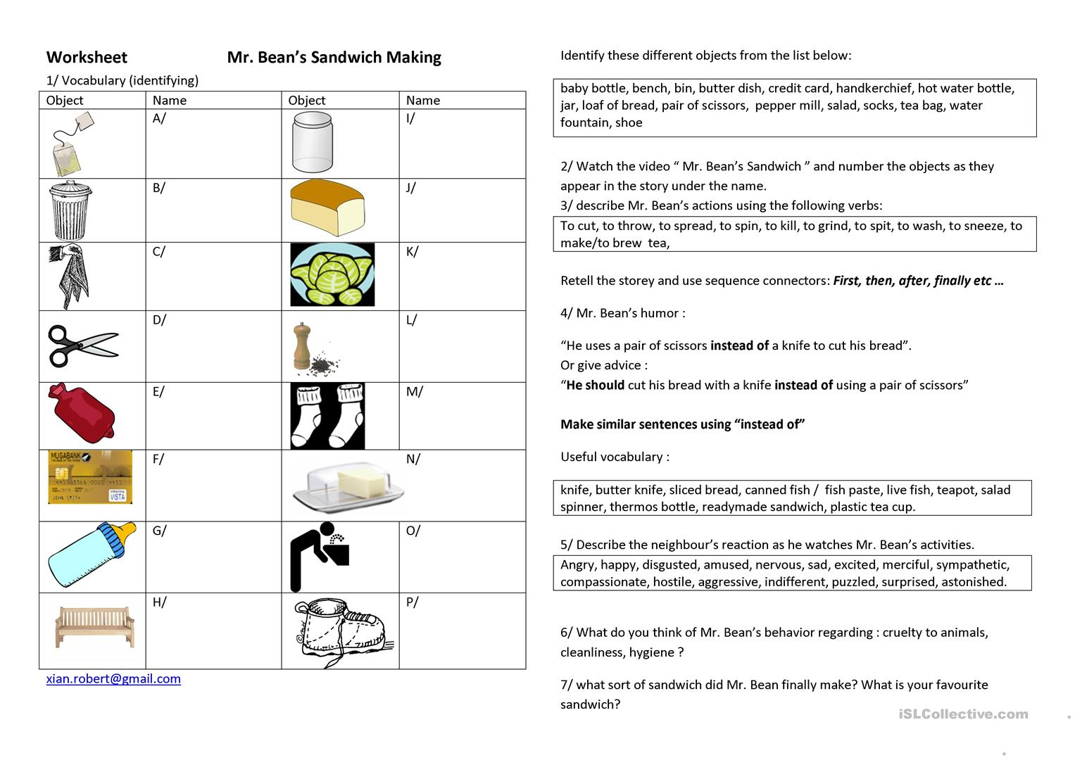 Making A Sandwich Sequence Worksheets
