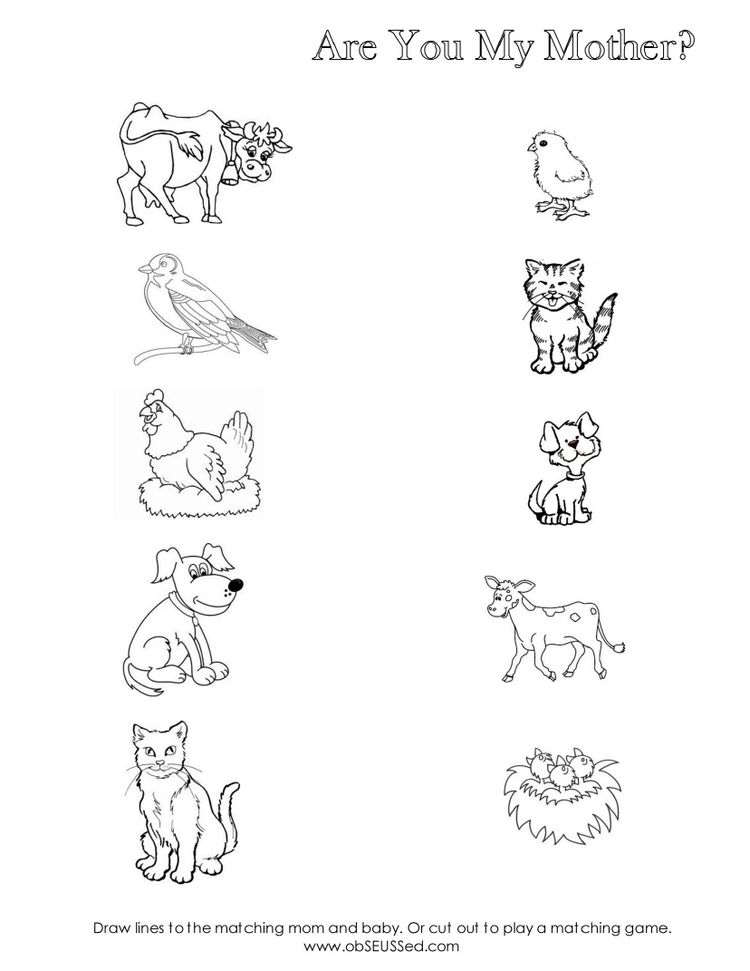 Mother And Baby Animals Worksheets