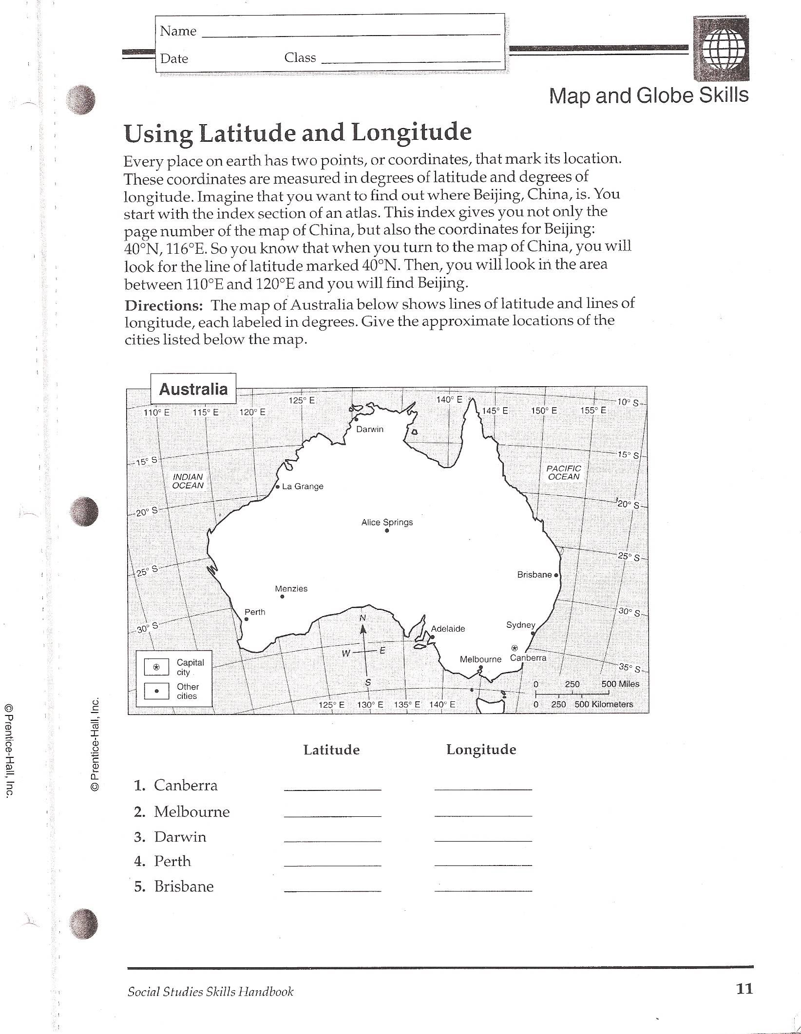 Longitude And Latitude Worksheets