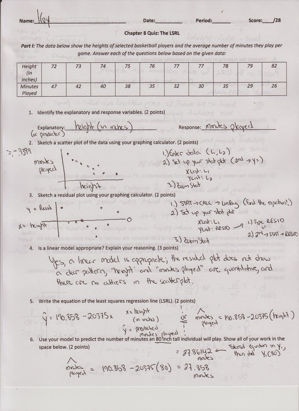 Regression Line Worksheet Answers