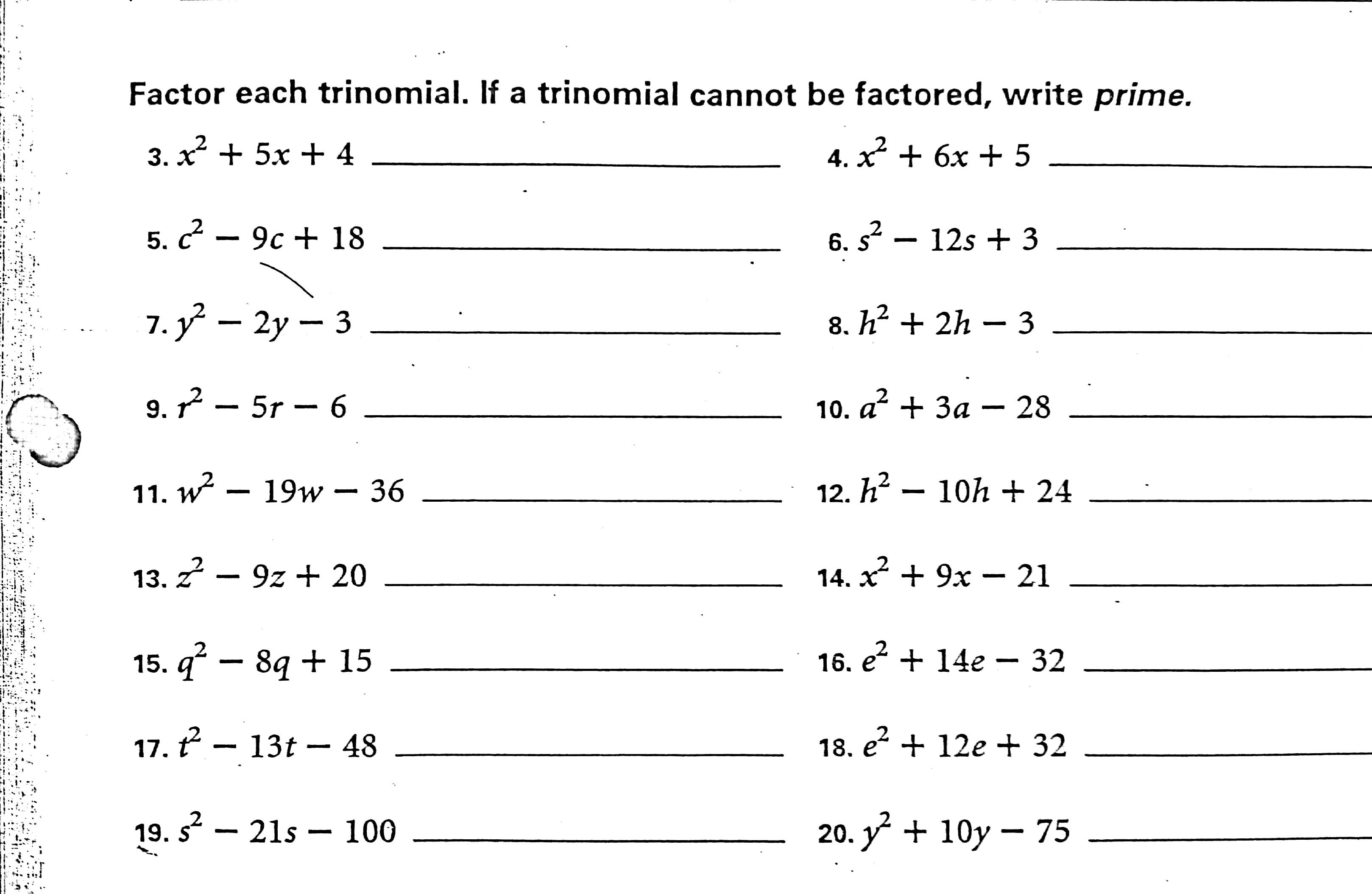 Factoring Worksheet Algebra 2 Penny Worksheet Worksheets