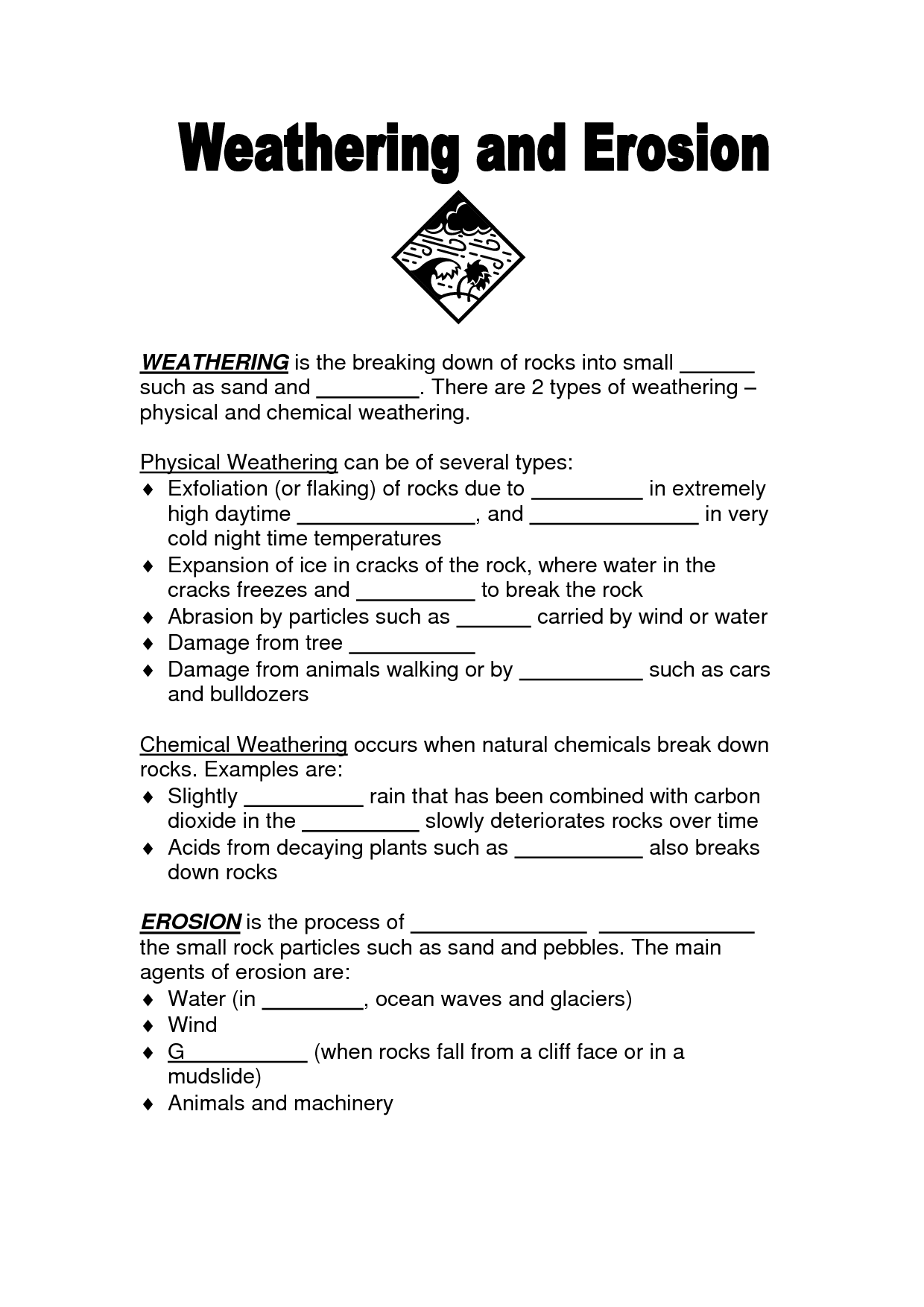 Weathering Worksheets For 4th Grade