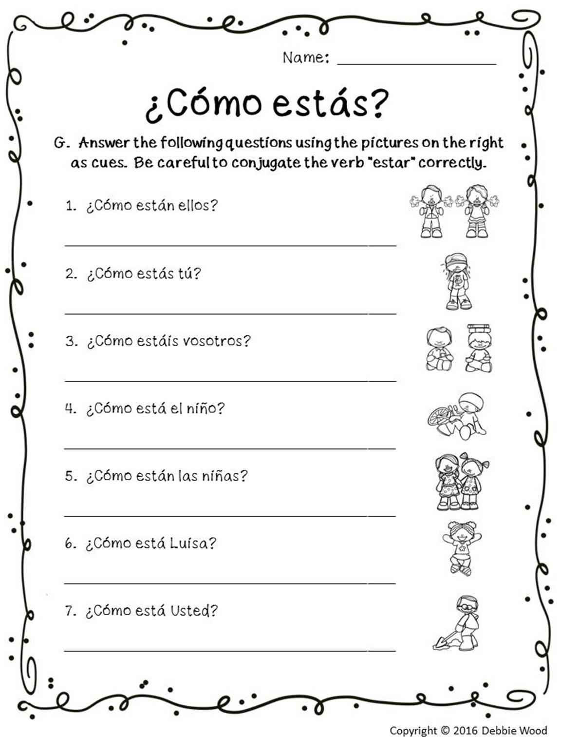 Spanish Verb Conjugation Worksheets Printable