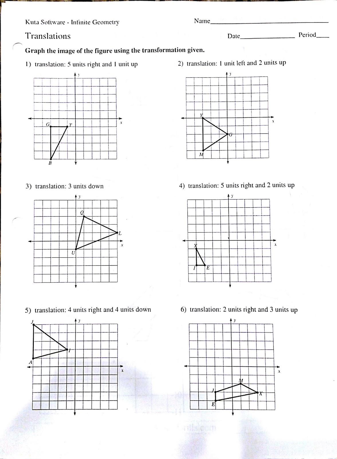 Transformations Rotations Worksheets