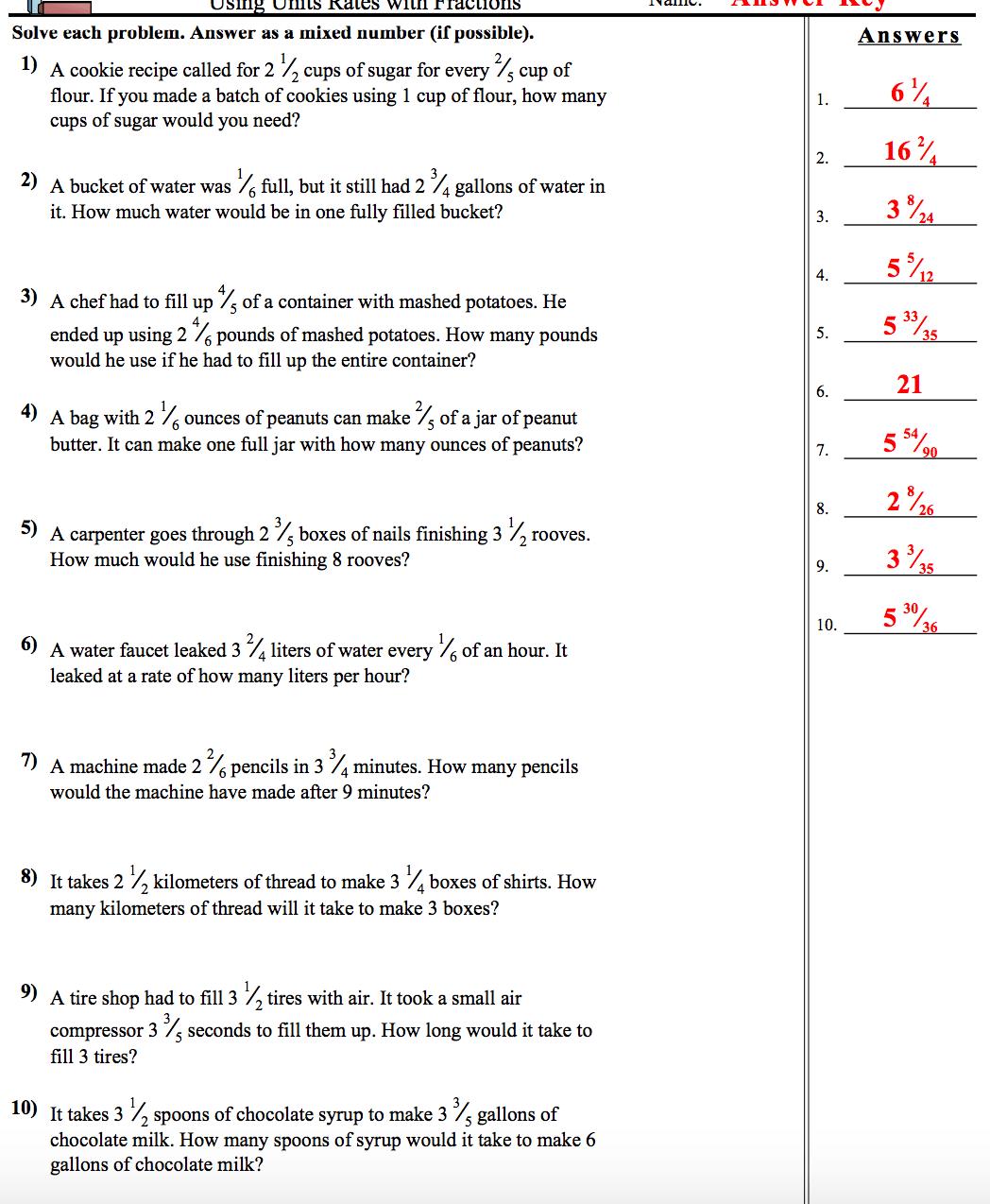 Unit Rates Worksheets