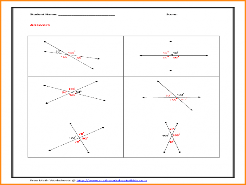 Vertical Angles Practice Worksheets