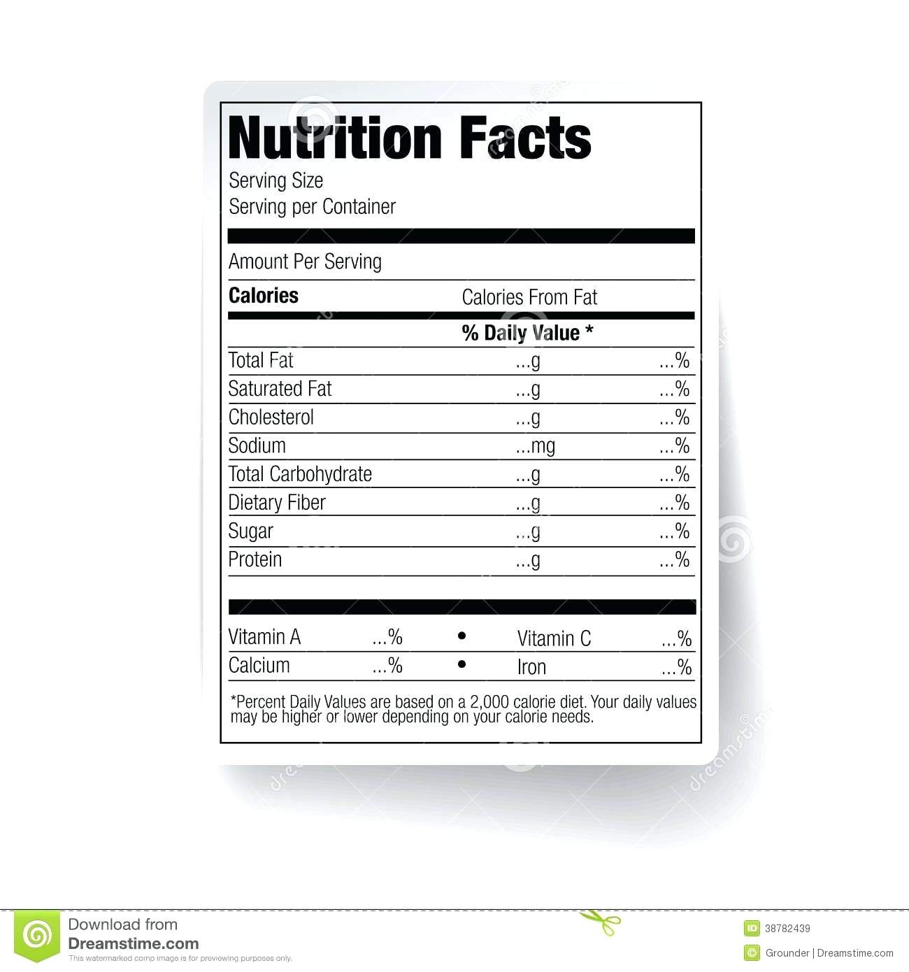 Blank Food Label Worksheets