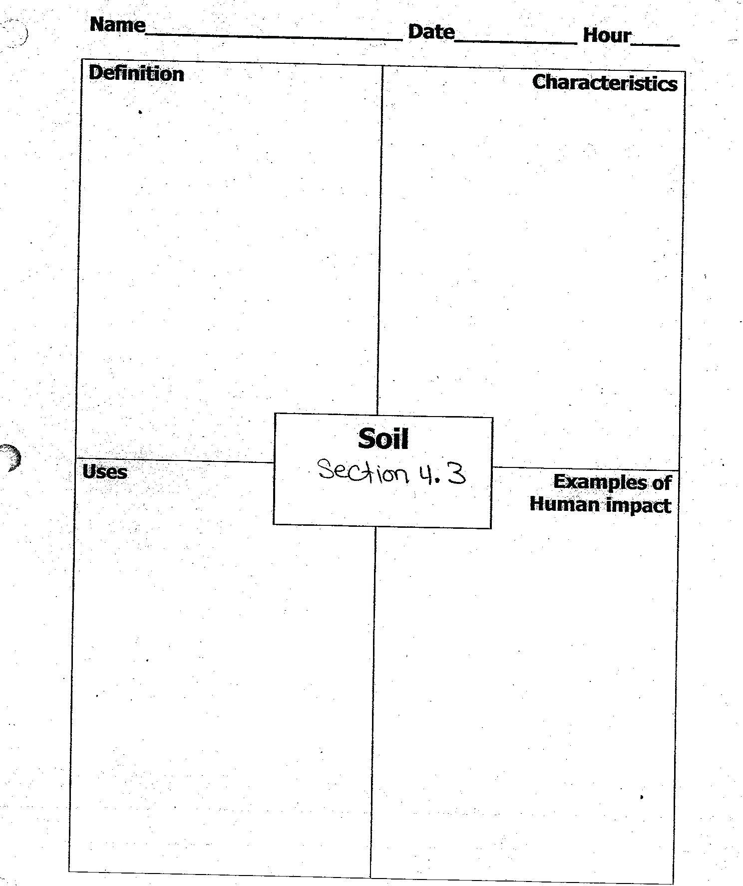 Soil Horizons Worksheets