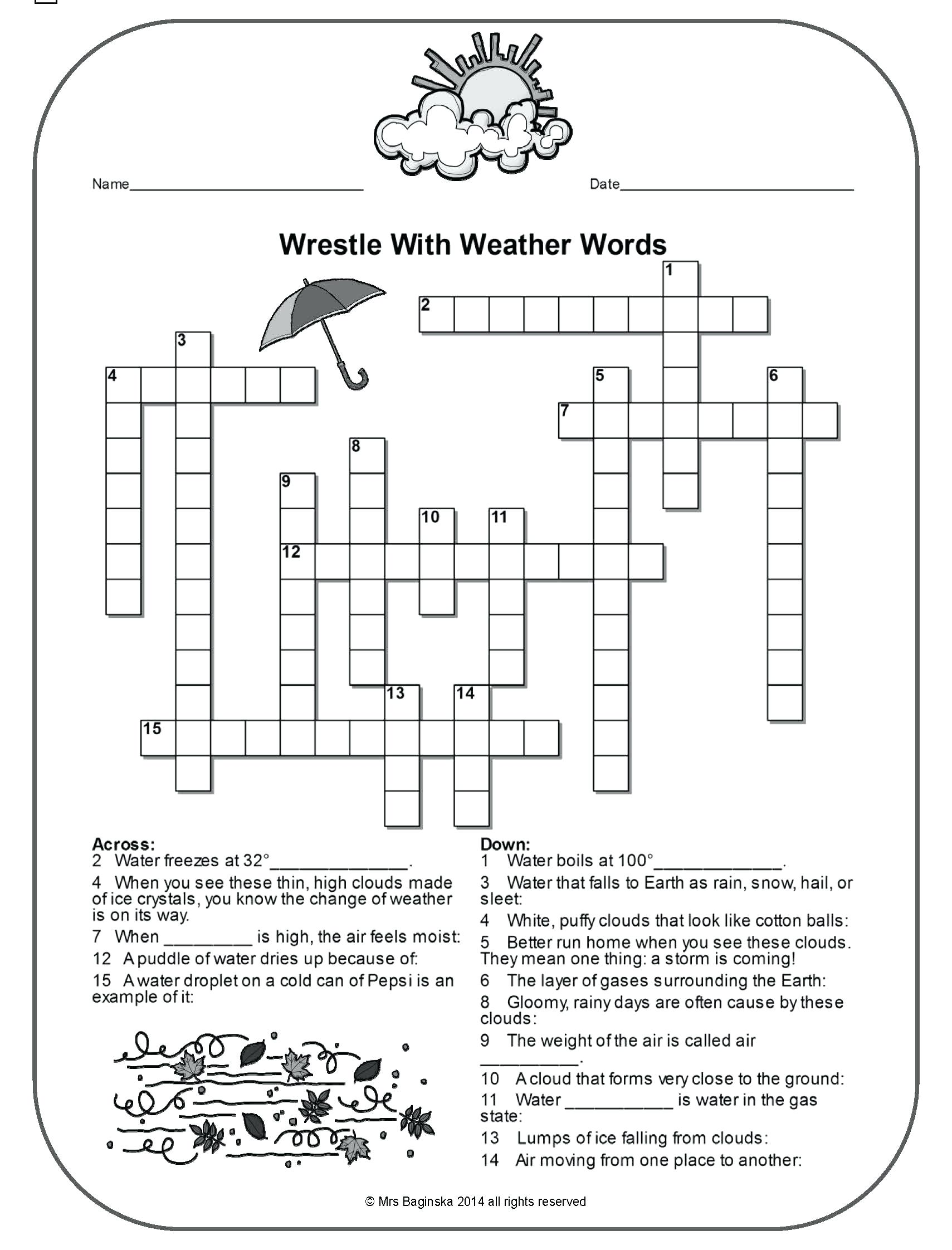 Weather Worksheet Third Grade