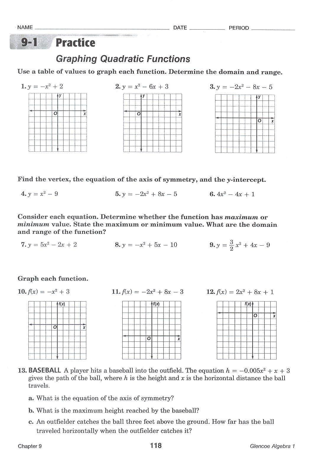 Graphing Quadratics Worksheets