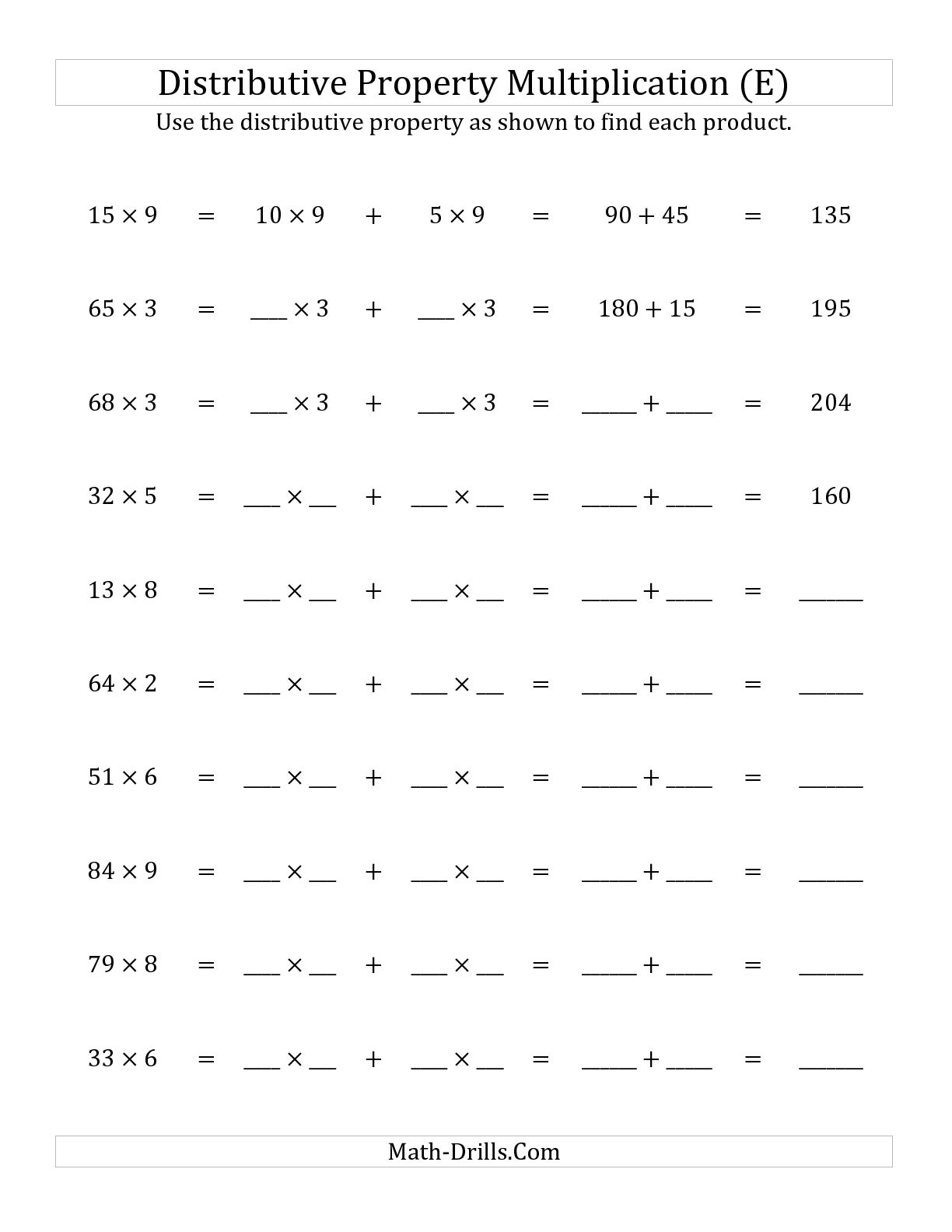 Multiplication Properties Worksheets 4th Grade