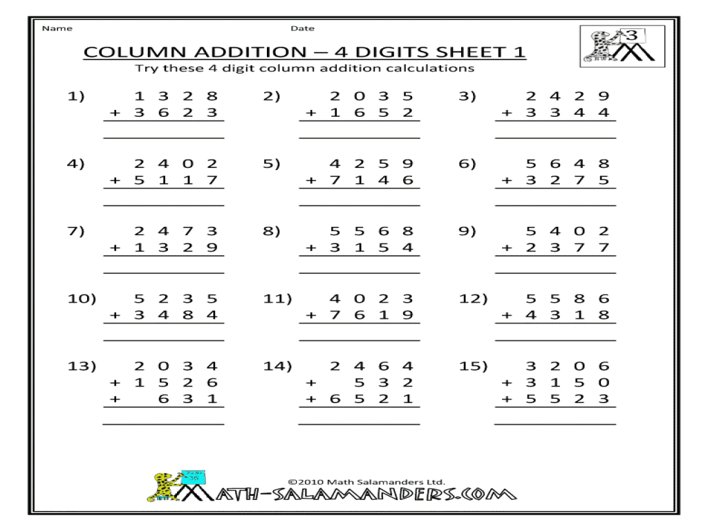Subtraction Worksheet For 4th Grade Math