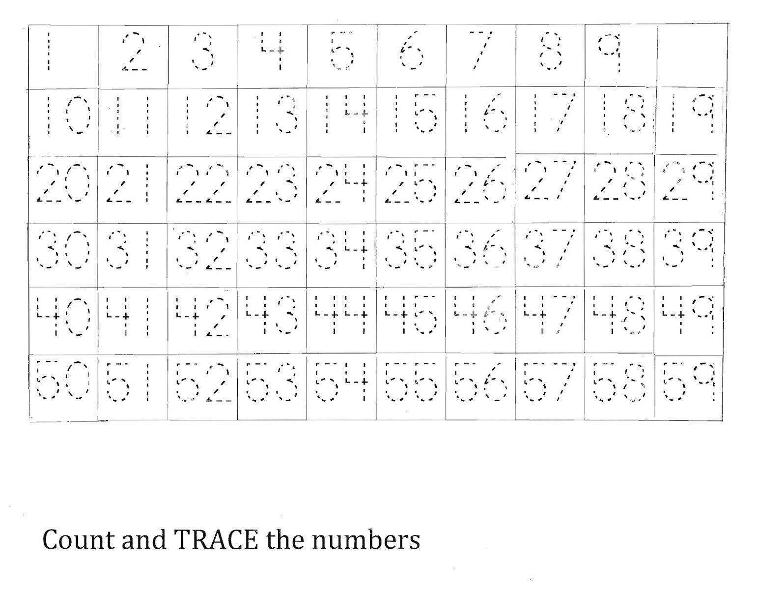 Number Tracing Worksheets 1 50