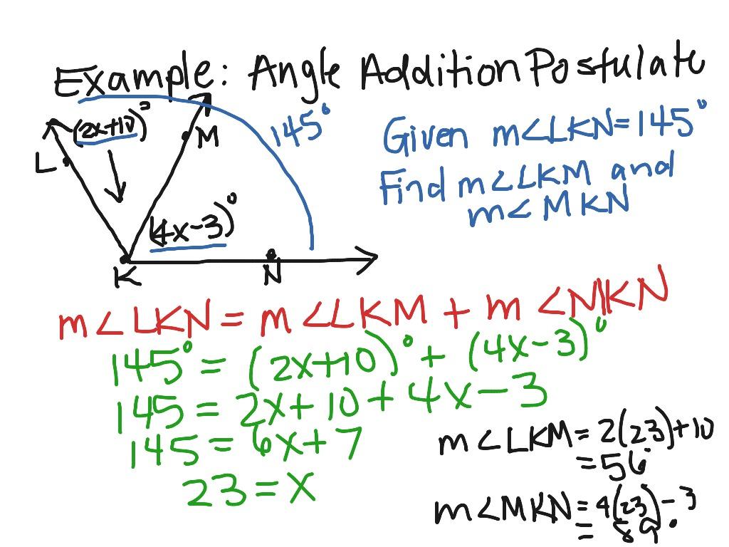 Addition Postulate Worksheets