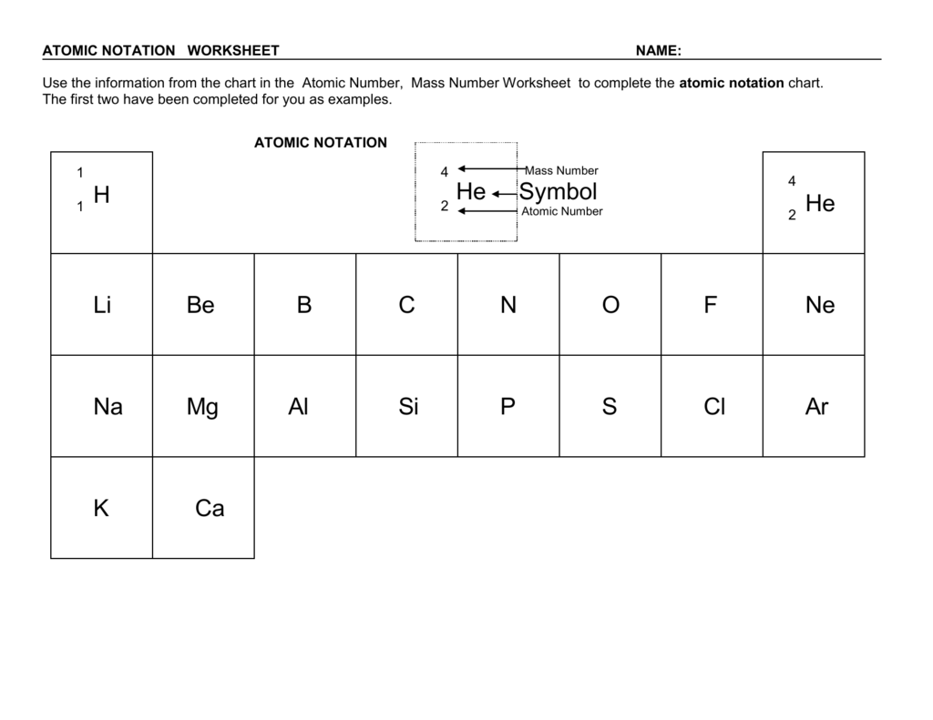 Atomic Notation Worksheets Answers