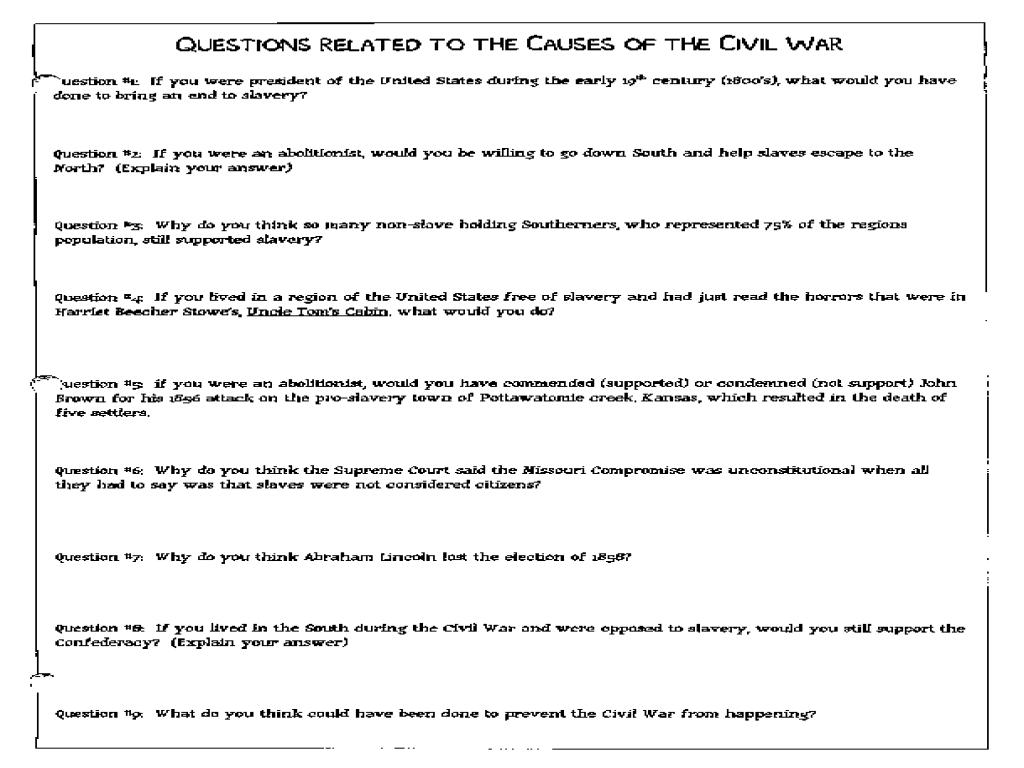 Civil War Causes Worksheets