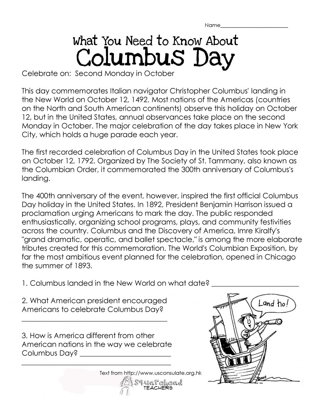 Christopher Columbus Worksheets High School
