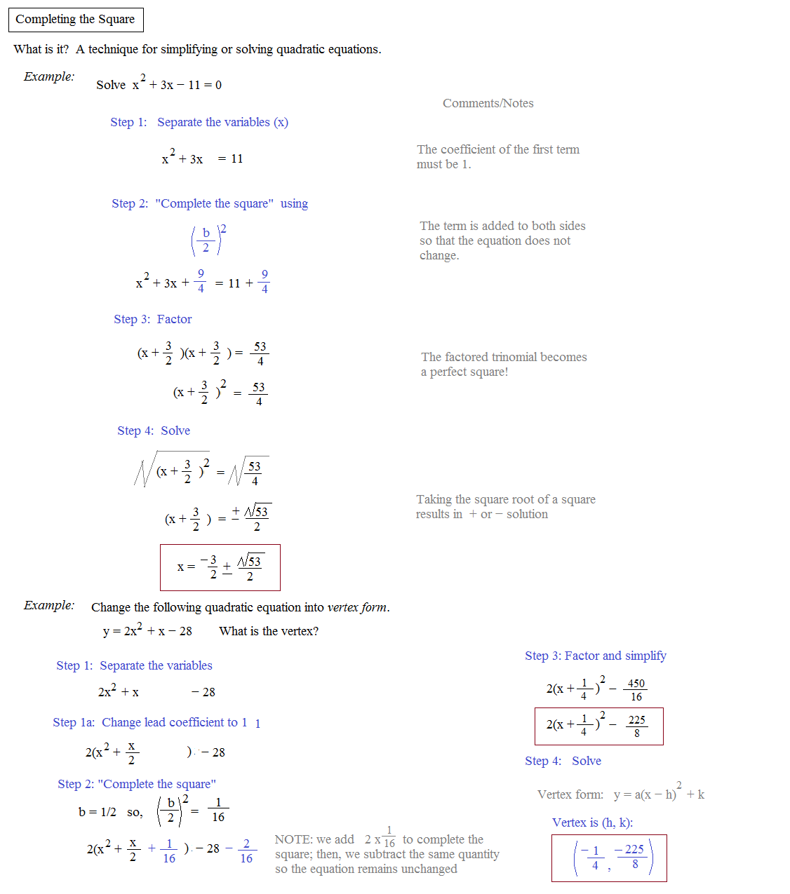 Completing The Square Worksheets