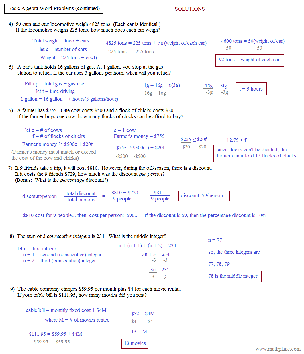 Algebraic Expressions Word Problems Worksheets