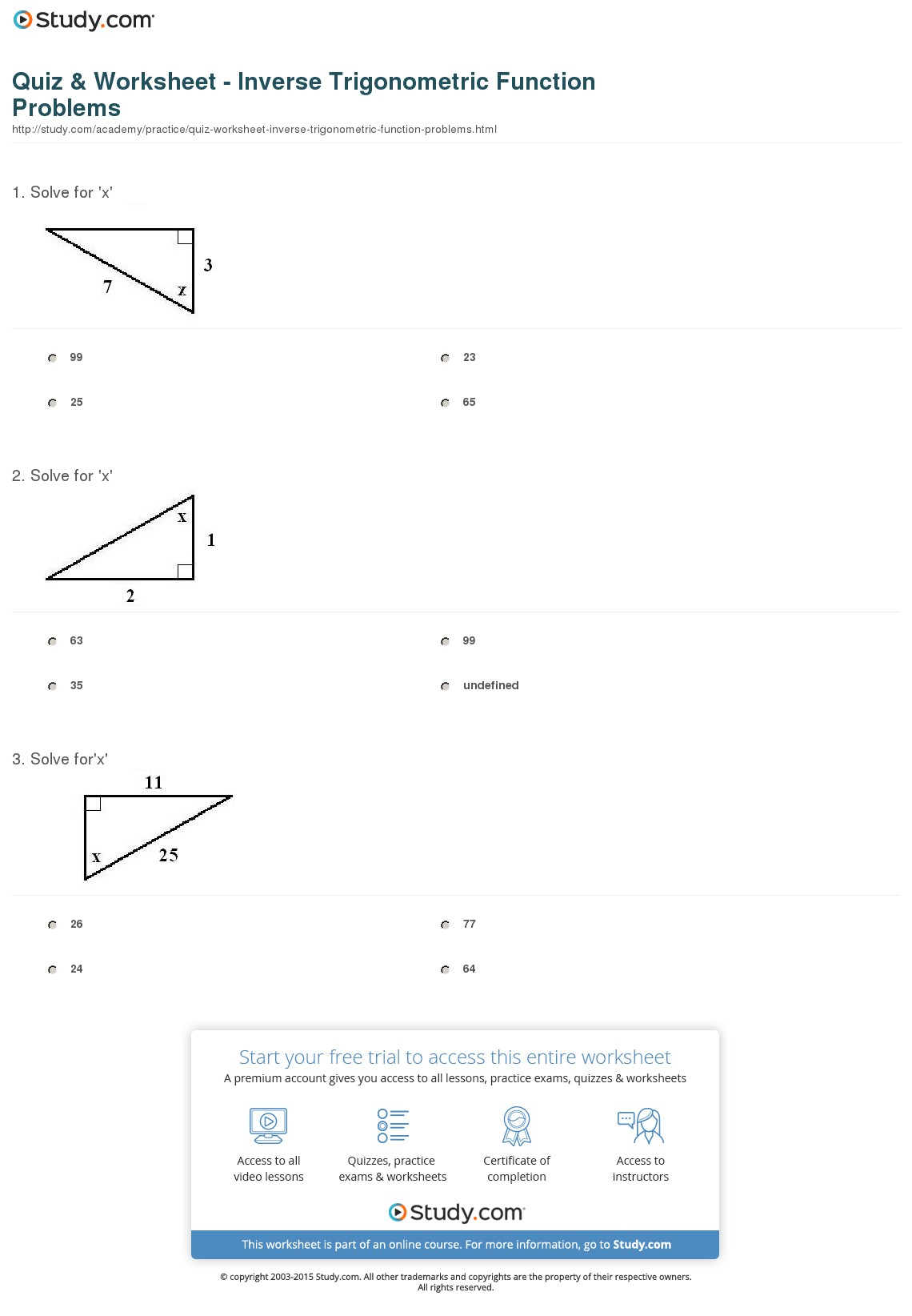 Trigonometric Functions Worksheets