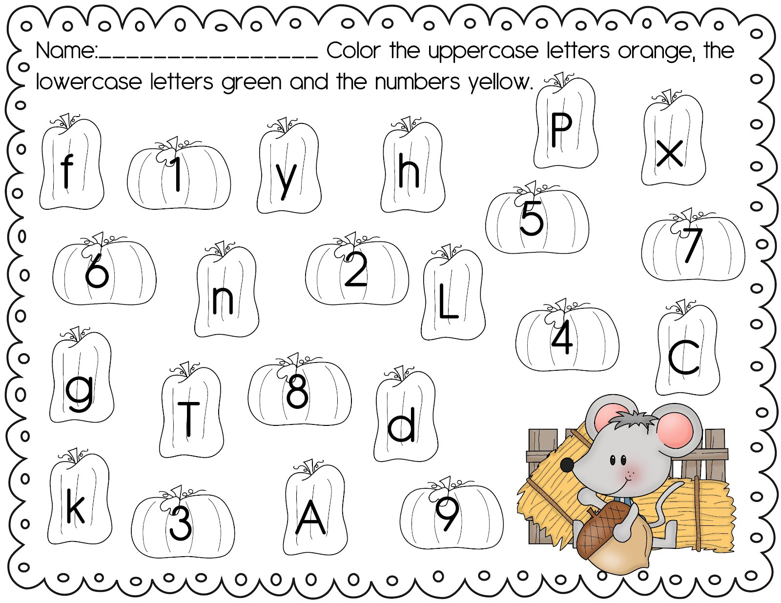 Fall Pre K Worksheets