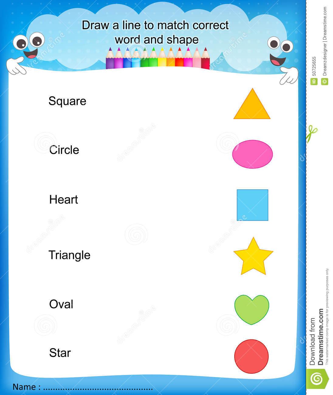 Shape Matching Worksheets Kindergarten