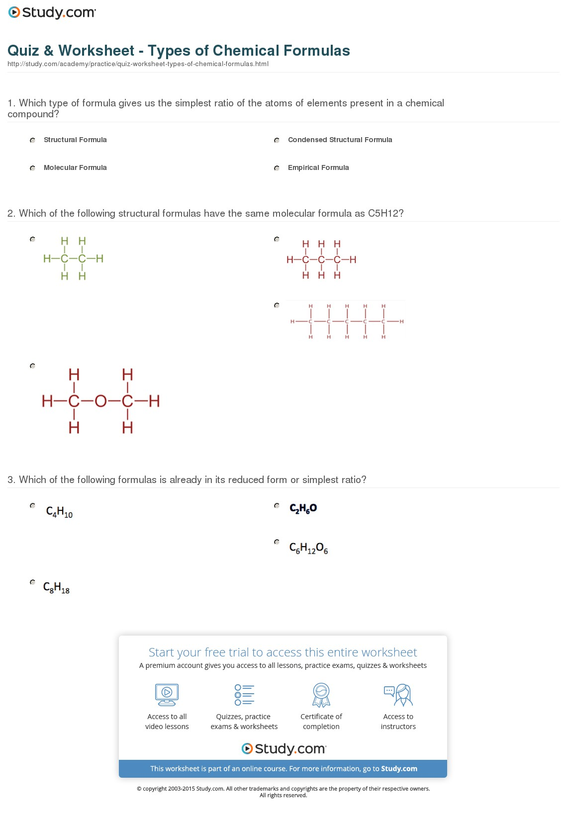 Structural Formula Worksheets