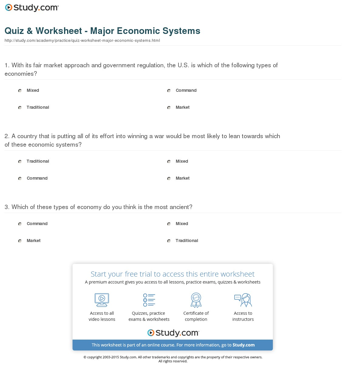 Economic Systems Worksheets