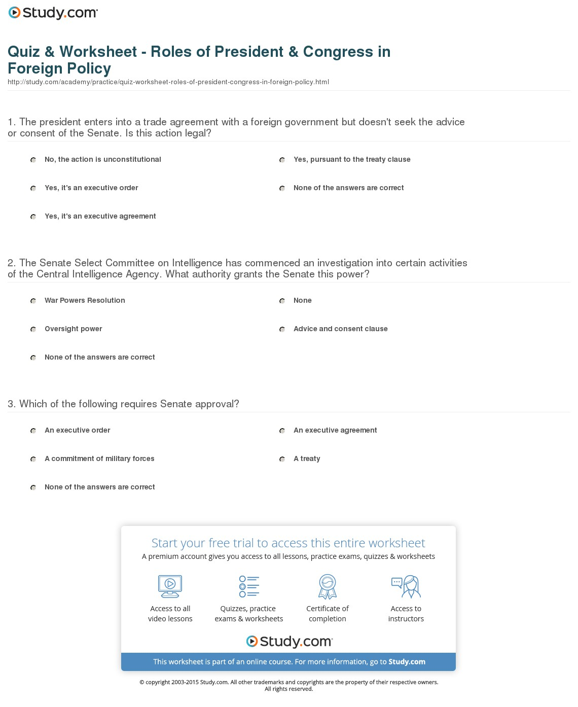 Roles Of The President Worksheet Worksheets Kristawiltbank