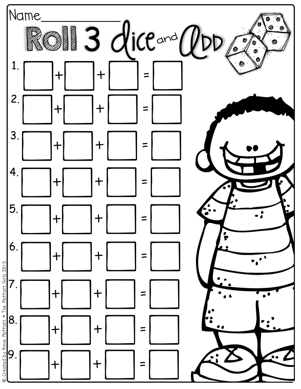 Dice Addition Worksheets