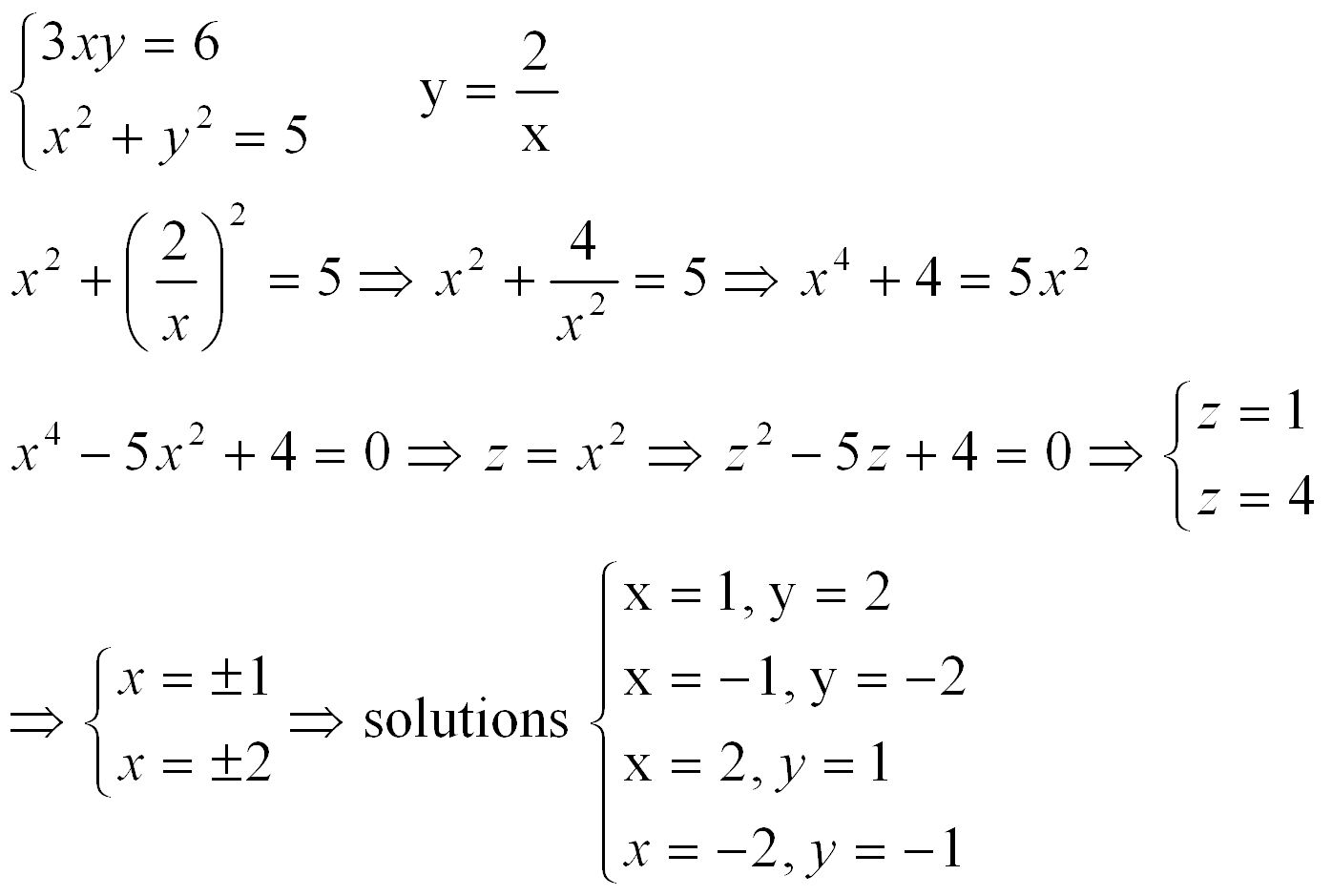 Quadratic Systems Worksheets