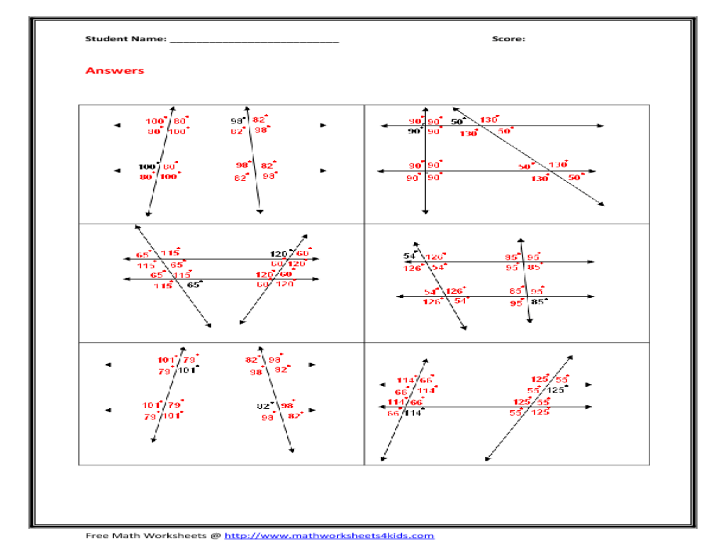 Transversal And Parallel Lines Worksheets