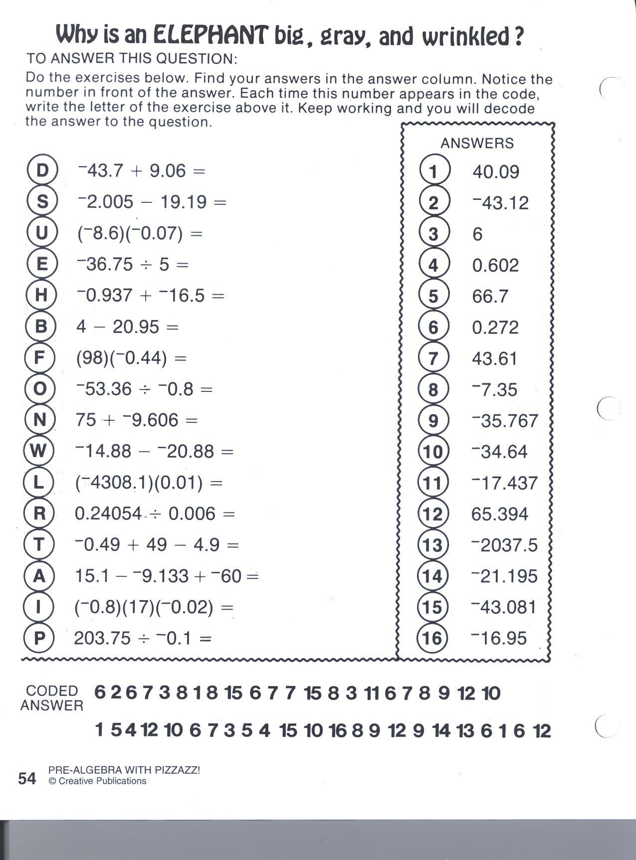 Two Step Equations Pizzazz Worksheet Worksheets Samples