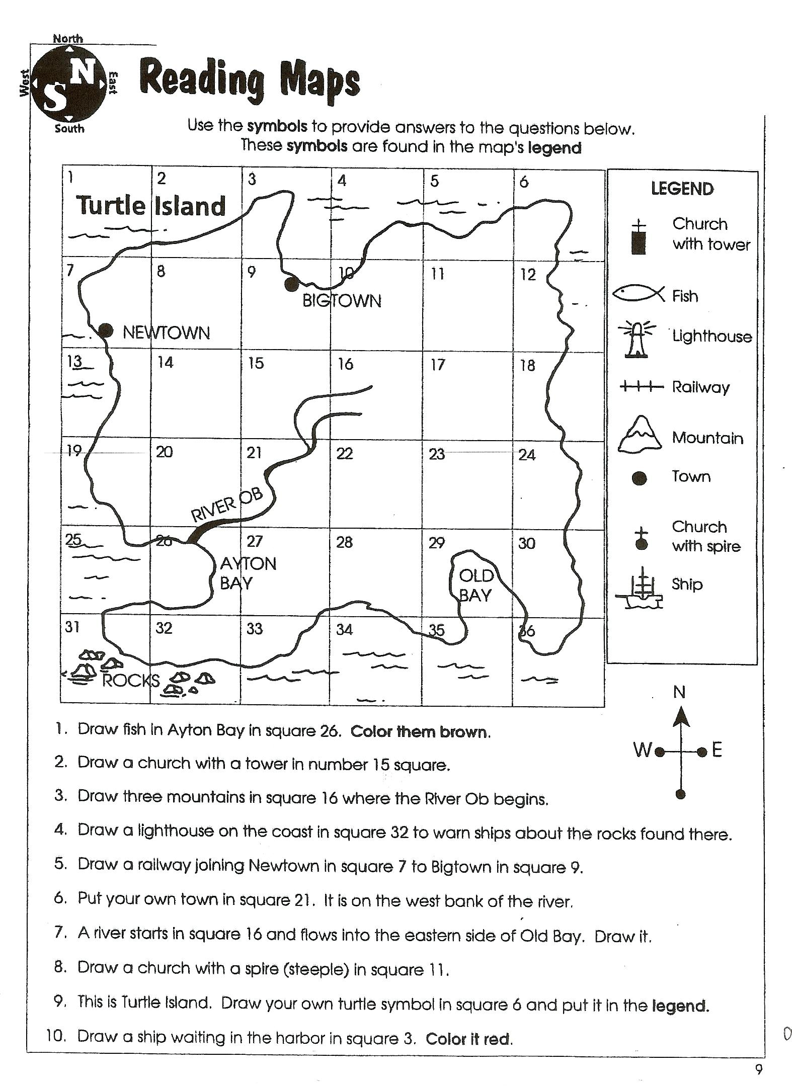 Worksheet Map Skills Worksheets 2nd Grade Comprehension