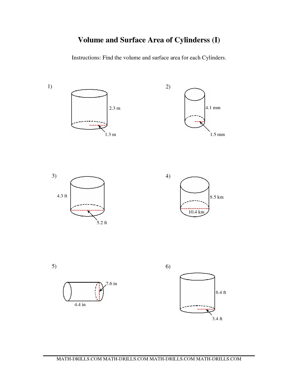 Cylinder Surface Area Worksheets