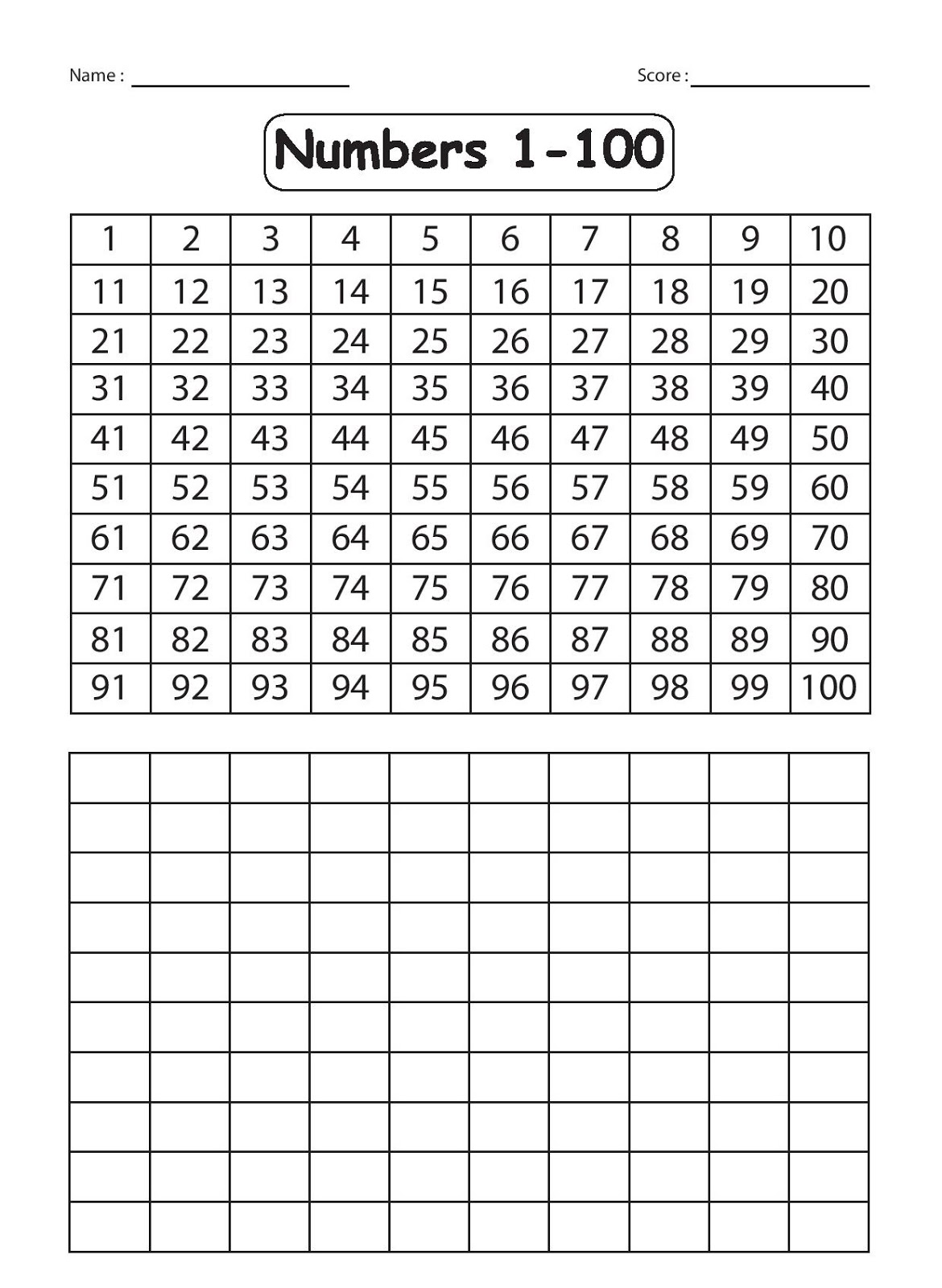 Writing Numbers Worksheets 1 100