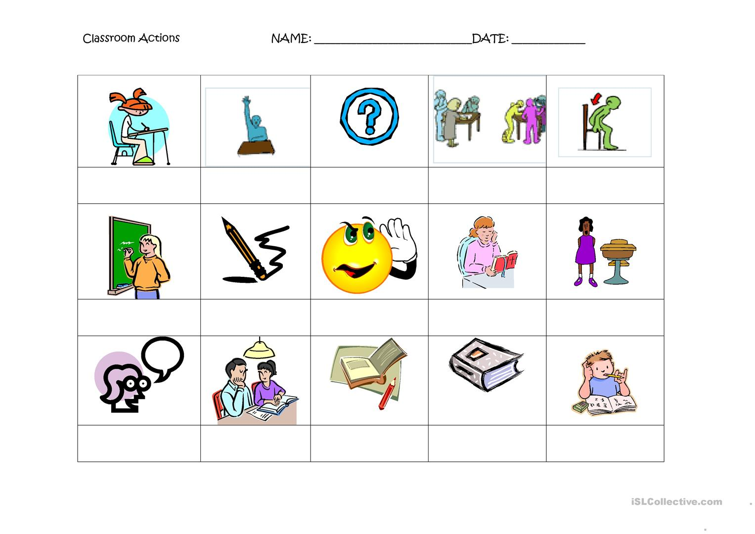 Classroom Actions Worksheets