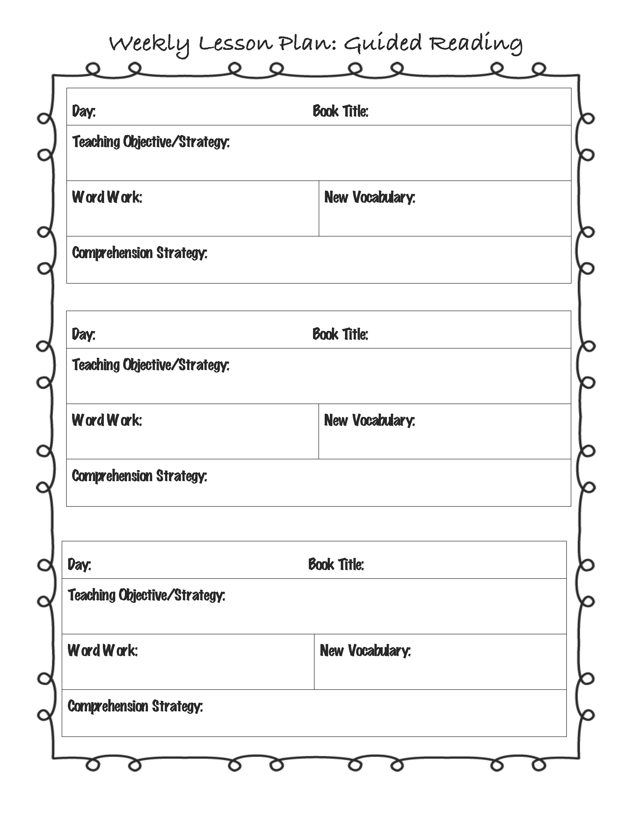 Reading Vocabulary Worksheets