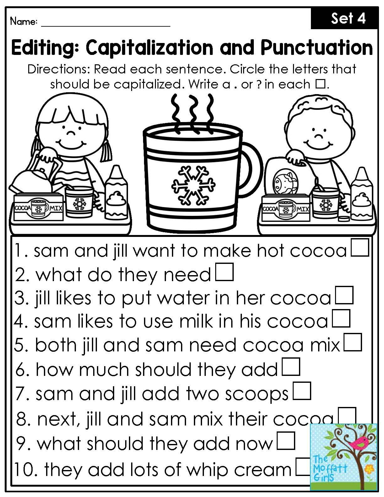 Sentence Editing Worksheets Grade 2