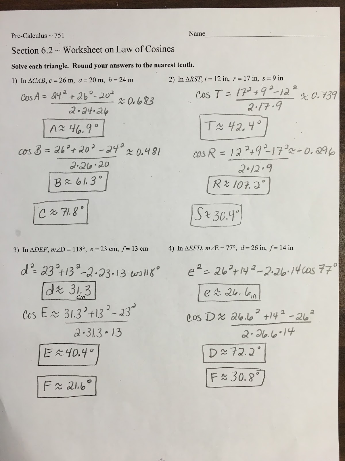 Precalculus Worksheets 9 Answers
